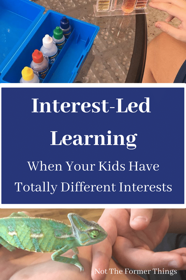 Interest-Led Learning: When Your Kids Have Totally Different Interests~This is a real life, every single day, snapshot of what interest-led learning looks like in our home. I have found that interest-led learning is definitely not always easy, but it is worth it. | Not the Former Things